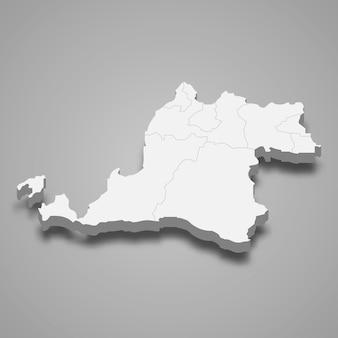 Die isometrische karte von banten ist eine provinz indonesiens