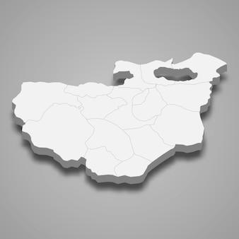 Die isometrische karte von bursa ist eine provinz der türkei