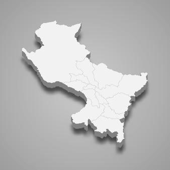 Die isometrische karte von cusco ist eine region perus