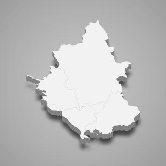 Die isometrische karte von epirus ist eine region griechenlands