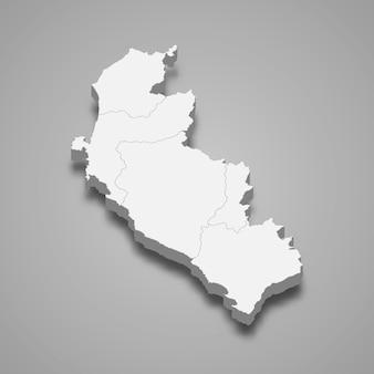 Die isometrische karte von ica ist eine region perus