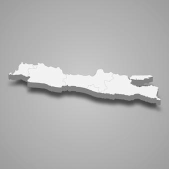 Die isometrische karte von java ist eine insel indonesiens