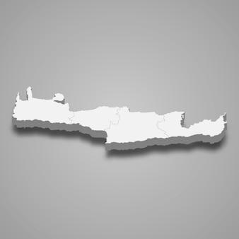 Die isometrische karte von kreta ist eine region griechenlands