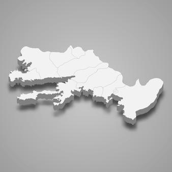 Die isometrische karte von mugla ist eine provinz der türkei