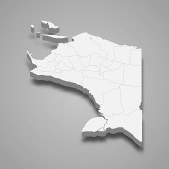 Die isometrische karte von papua ist eine provinz indonesiens