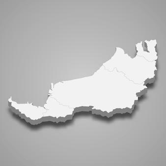 Die isometrische karte von sarawak ist ein bundesstaat malaysia