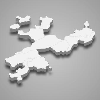 Die isometrische karte von solothurn ist ein kanton der schweiz