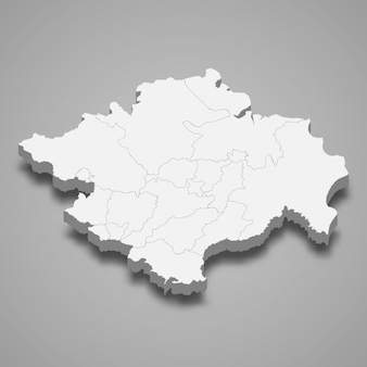 Die isometrische karte von süd-sumatra ist eine provinz indonesiens
