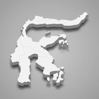 Die isometrische karte von sulawesi ist eine insel indonesiens