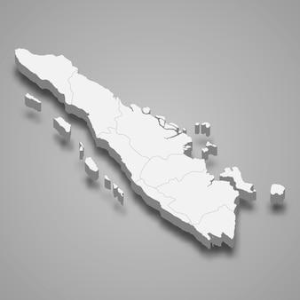 Die isometrische karte von sumatra ist eine insel indonesiens