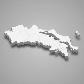 Die isometrische karte von zentralgriechenland ist eine region griechenlands