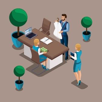 Die isometrische managerin der bank gibt eine menge geld aus, um ein eigenes geschäft für einen schneider zu eröffnen. unternehmer, arbeiten sie für sich