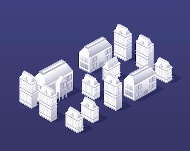 Die isometrische stadt mit urbaner historischer gebäudearchitektur