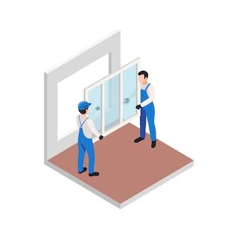 Die isometrische zusammensetzung der renovierungsreparatur mit einem arbeiterpaar, das ein neues fenster installiert