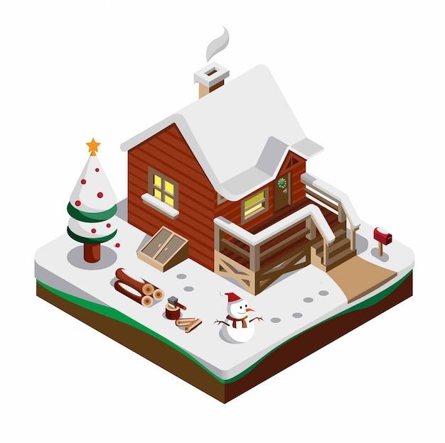 Die isometrische zusammensetzung der winterlandschaft mit schneebedeckten fichten des holzhauses umfasst alle dekorationen der weihnachtsschneemannillustration