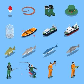 Die isometrischen ikonen der fischerei, die mit boots- und ausrüstungssymbolen eingestellt wurden, lokalisierten illustration