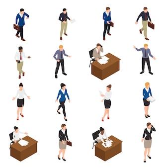 Die isometrischen ikonen der geschäftsleute, die mit bürosymbolen eingestellt wurden, lokalisierten illustration