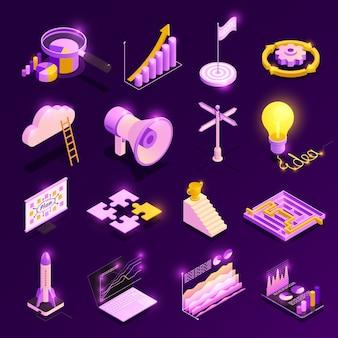 Die isometrischen ikonen der geschäftsstrategie, die mit erfolgssymbolen eingestellt wurden, lokalisierten illustration