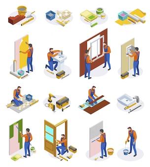 Die isometrischen ikonen der hauptreparatur, die von den werkzeugen und von handwerkern eingestellt wurden, die das legen der fliesen durchführen, die tapetentüren und fensterinstallation kleben, lokalisierten illustration