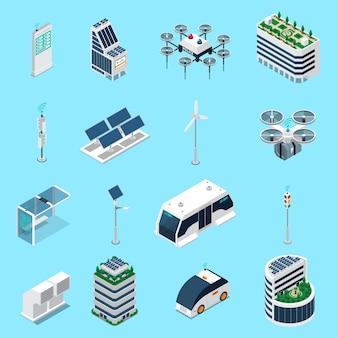 Die isometrischen ikonen der intelligenten stadt, die mit transport- und sonnenenergiesymbolen eingestellt wurden, lokalisierten illustration