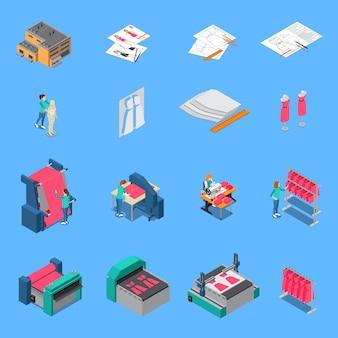 Die isometrischen ikonen der kleidungsfabrik, die mit produktionssymbolen eingestellt wurden, lokalisierten illustration