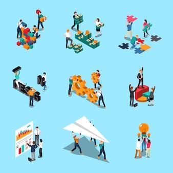Die isometrischen ikonen der teamwork, die mit zusammenarbeitsideen und kreativitätssymbolen eingestellt wurden, lokalisierten illustration