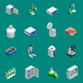 Die isometrischen ikonen der wissenschaftlichen laborausrüstung, die mit werkzeugen für naturforschung und in hohem grade technologische geräte eingestellt wurden, lokalisierten vektorillustration