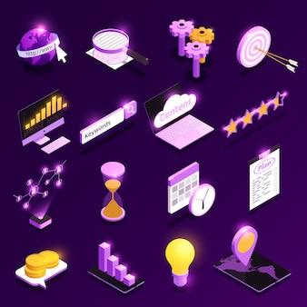 Die isometrischen ikonen des netzverkehrs, die mit inhaltsoptimierungssymbolen eingestellt wurden, lokalisierten illustration