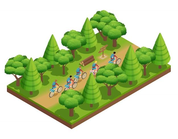 Die isometrischen zusammensetzungstouristen des wanderns gehen auf waldweg im park auf fahrradvektor illustra