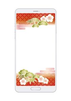 Die japanische oder chinesische neujahrsvorlage wird auf dem smartphone-bildschirm angezeigt.