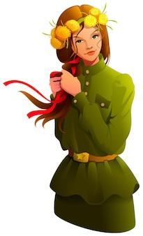 Die junge frau des siegtages in der soldatenuniform, die bogenband in ihrem haar flechtet