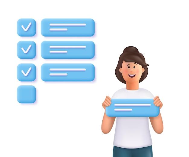 Die junge frau jane hält ein aufgabenschild und steht in der nähe einer riesigen markierten checkliste. konzept der aufgabenerledigung, aufgabe, planung, zeitmanagement. 3d-vektor-leute-charakter-illustration.