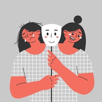 Die junge frau leidet an bipolaren störungen, manischen und depressiven zuständen.