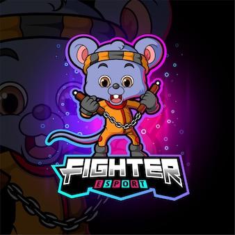 Die kämpfermaus mit nunchakus-esport-logo-design der illustration