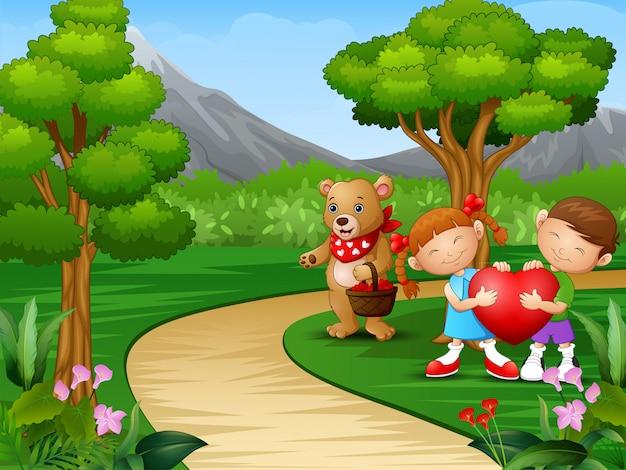 Die karikatur der kinder feiern valentinstag mit bären