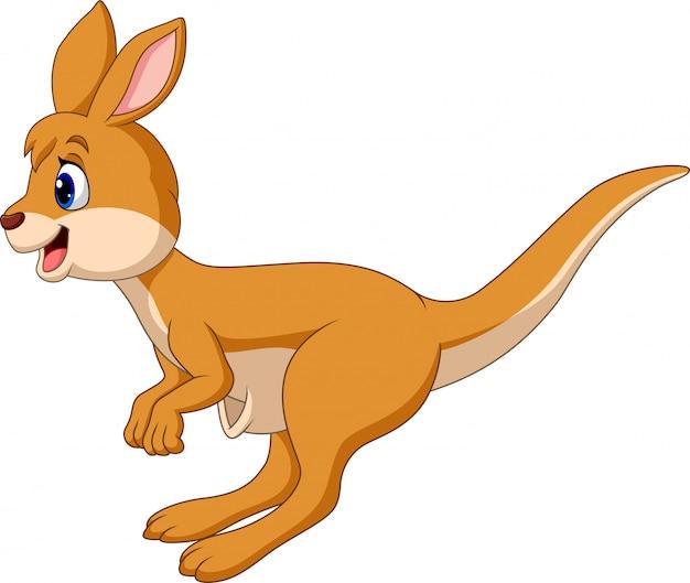 Die karikatur springender känguru lokalisiert auf weißem hintergrund
