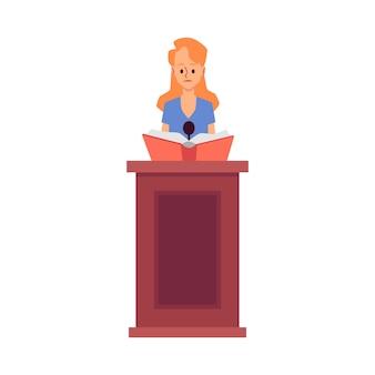 Die karikaturfigur der rechtsanwältin macht eine rede in der gerichtsgebäudeillustration auf weißem hintergrund. gerichtsbeweise und gerichtliche ermittlungen.