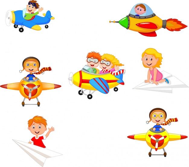 Die karikaturkinder, die flugzeug spielen, spielt sammlungssatz