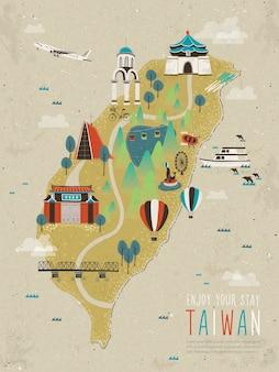 Die karte der entzückenden taiwanesischen sehenswürdigkeiten in flachen worten auf dem roten gebäude bedeutet die erste schule in taiwan
