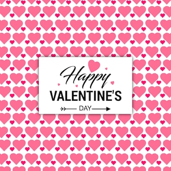 Die karte des valentinsgrußes mit rosa herzhintergrund