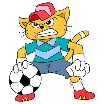 Die katze gibt vor, ein torhüter im fußball zu sein, vektorgrafiken. doodle symbolbild kawaii.