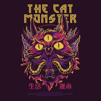 Die katze monster illustration