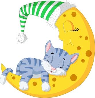 Die katze schläft auf dem mond