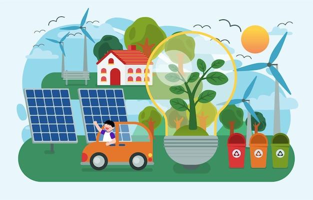 Die kinder pflanzen bäume und nutzen erneuerbare energie aus der natur mit solarenergie aus sonnenkollektor und windkraftanlage