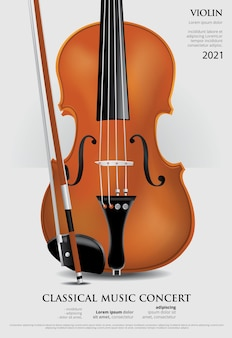 Die klassische musik-konzept-plakat-geigenillustration