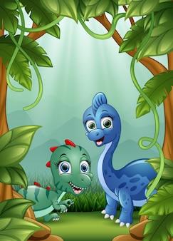 Die kleinen dinosaurier, die glücklich im dschungel leben