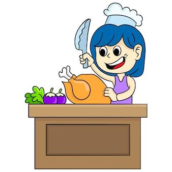 Die köchin bearbeitet das huhn. cartoon illustration süßer aufkleber