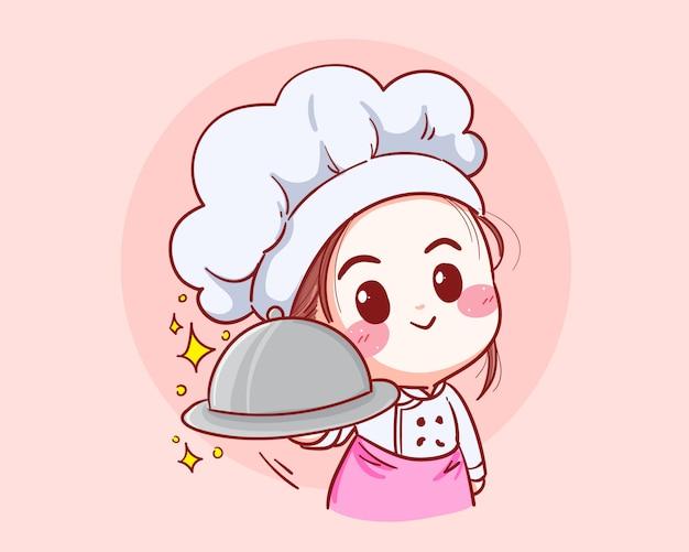 Die köchin trägt eine schürze, einen hut und eine silberne kuppel