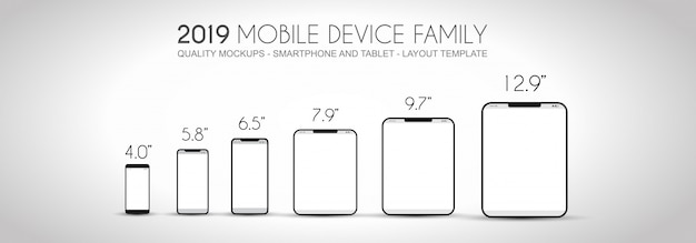 Die komplette gerätefamilie der nächsten generation umfasst mobiltelefone, tablets, phablets, desktops und laptops