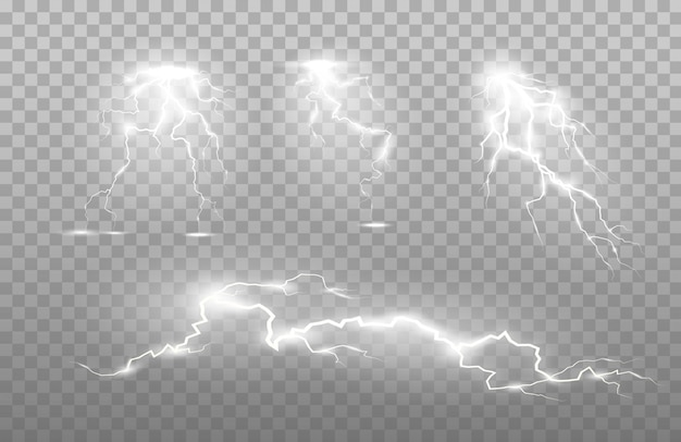 Die kraft von blitz und schockentladung, donner, ausstrahlung